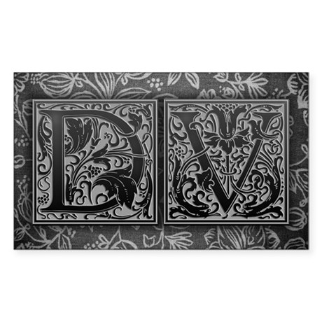 DV initials. Vintage, Floral Sticker (Rectangle)