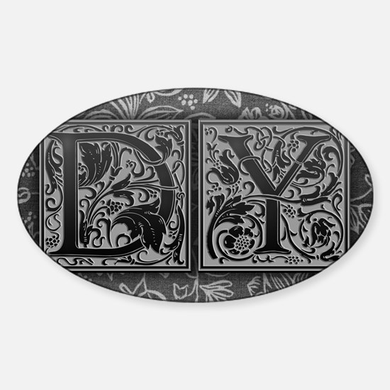 DY initials. Vintage, Floral Sticker (Oval)