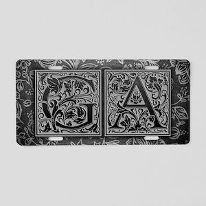 GA initials. Vintage, Flora Aluminum License Plate