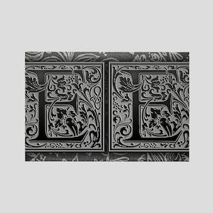 EE initials. Vintage, Floral Rectangle Magnet