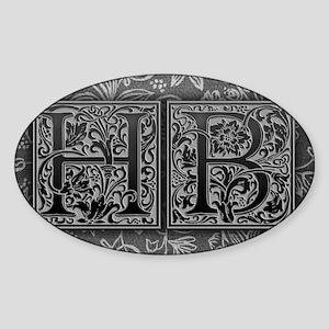 HB initials. Vintage, Floral Sticker (Oval)