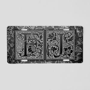 FJ initials. Vintage, Flora Aluminum License Plate