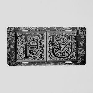 FU initials. Vintage, Flora Aluminum License Plate