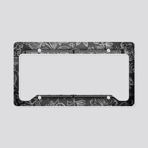 JA initials. Vintage, Floral License Plate Holder