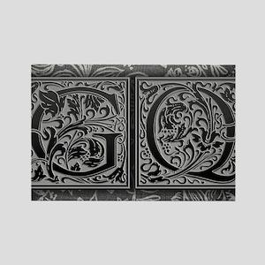 GQ initials. Vintage, Floral Rectangle Magnet