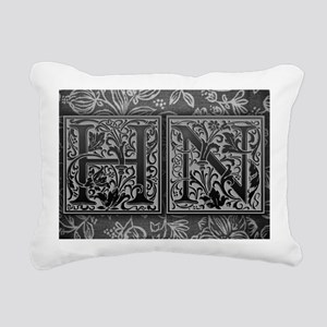 HN initials. Vintage, Fl Rectangular Canvas Pillow