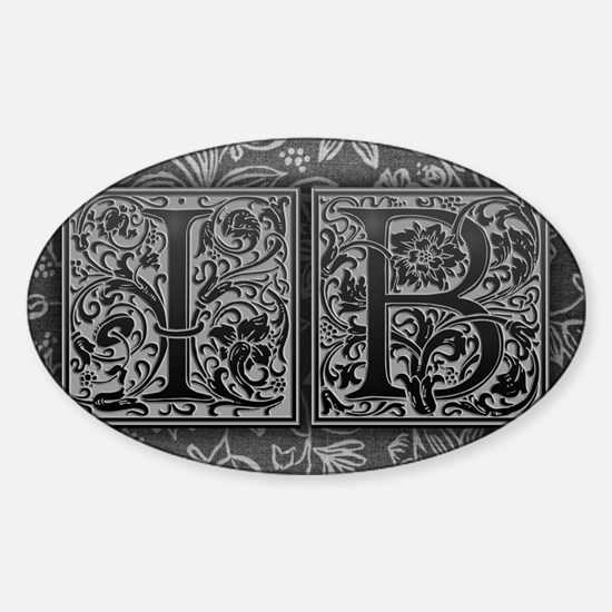 IB initials. Vintage, Floral Sticker (Oval)