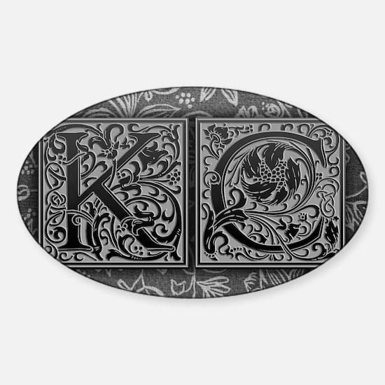 KC initials. Vintage, Floral Sticker (Oval)