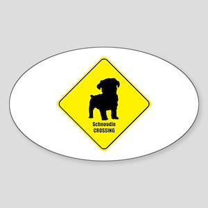 Schnoodle Crossing Oval Sticker