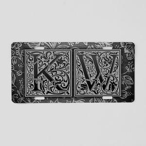 KW initials. Vintage, Flora Aluminum License Plate