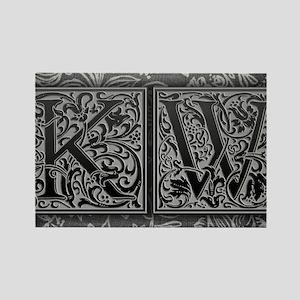 KW initials. Vintage, Floral Rectangle Magnet