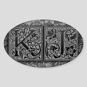 KJ initials. Vintage, Floral Sticker (Oval)