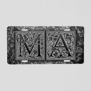 MA initials. Vintage, Flora Aluminum License Plate