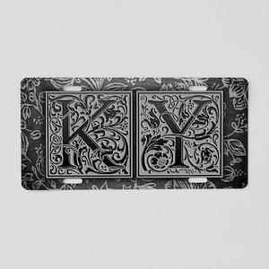 KY initials. Vintage, Flora Aluminum License Plate