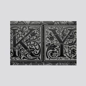KY initials. Vintage, Floral Rectangle Magnet
