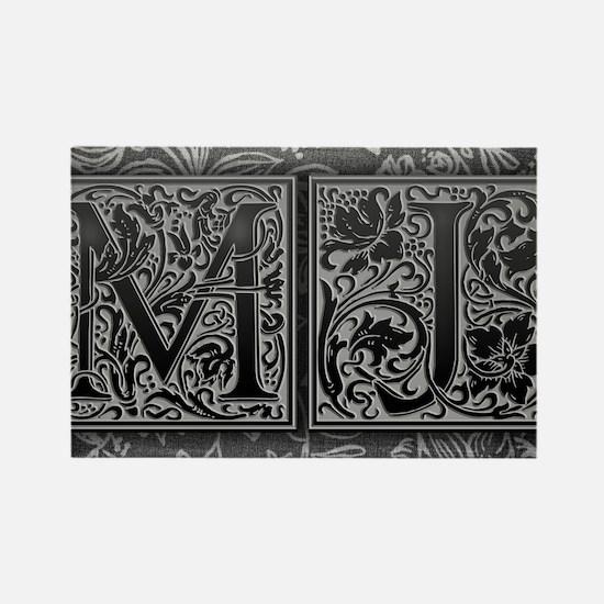 MJ initials. Vintage, Floral Rectangle Magnet