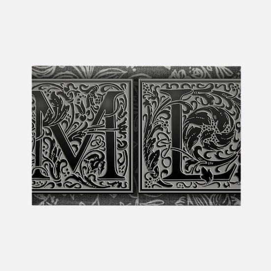 ML initials. Vintage, Floral Rectangle Magnet