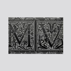 MV initials. Vintage, Floral Rectangle Magnet