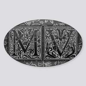 MV initials. Vintage, Floral Sticker (Oval)