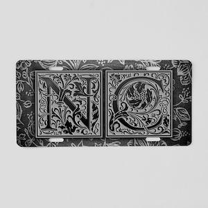 NC initials. Vintage, Flora Aluminum License Plate
