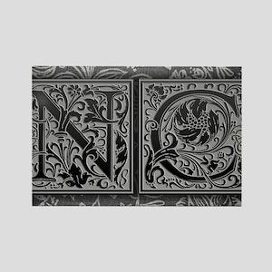 NC initials. Vintage, Floral Rectangle Magnet