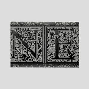 NE initials. Vintage, Floral Rectangle Magnet