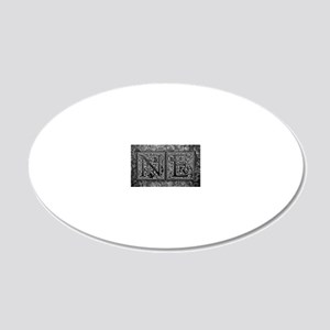NE initials. Vintage, Floral 20x12 Oval Wall Decal