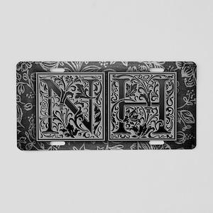 NH initials. Vintage, Flora Aluminum License Plate