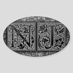 NJ initials. Vintage, Floral Sticker (Oval)