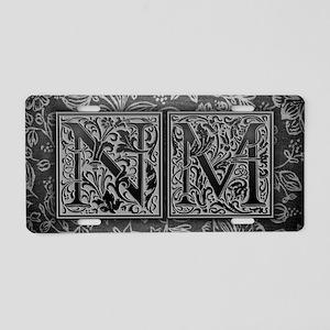 NM initials. Vintage, Flora Aluminum License Plate