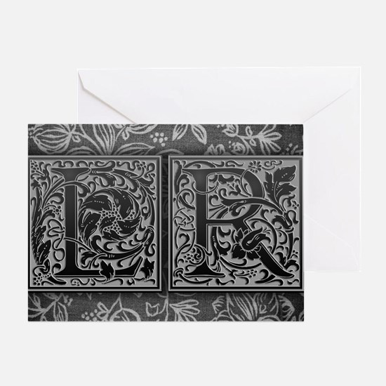 LR initials. Vintage, Floral Greeting Card