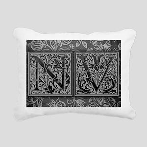 NV initials. Vintage, Fl Rectangular Canvas Pillow