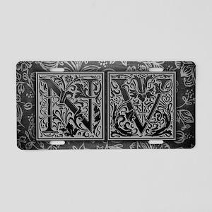 NV initials. Vintage, Flora Aluminum License Plate