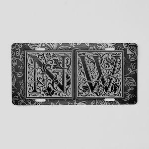 NW initials. Vintage, Flora Aluminum License Plate