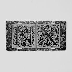 NX initials. Vintage, Flora Aluminum License Plate