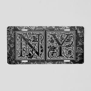 NY initials. Vintage, Flora Aluminum License Plate