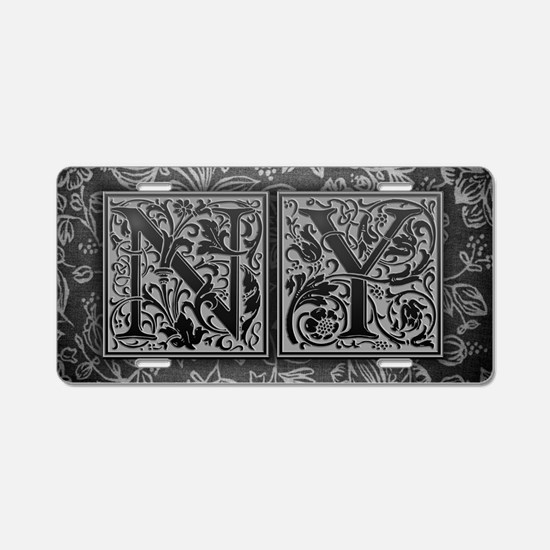 NY initials. Vintage, Flora Aluminum License Plate