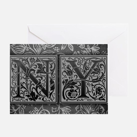NY initials. Vintage, Floral Greeting Card