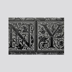 NY initials. Vintage, Floral Rectangle Magnet