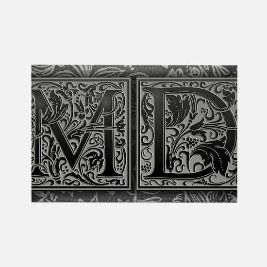MD initials. Vintage, Floral Rectangle Magnet
