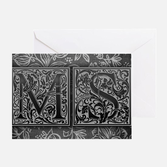 MS initials. Vintage, Floral Greeting Card