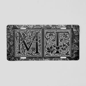 MT initials. Vintage, Flora Aluminum License Plate