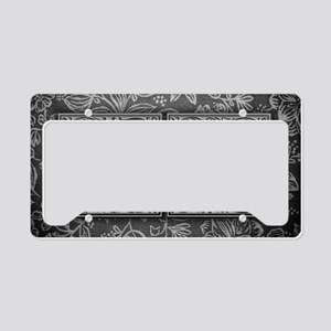 OU initials. Vintage, Floral License Plate Holder