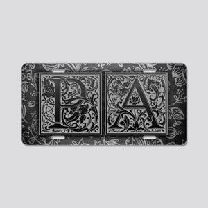 PA initials. Vintage, Flora Aluminum License Plate