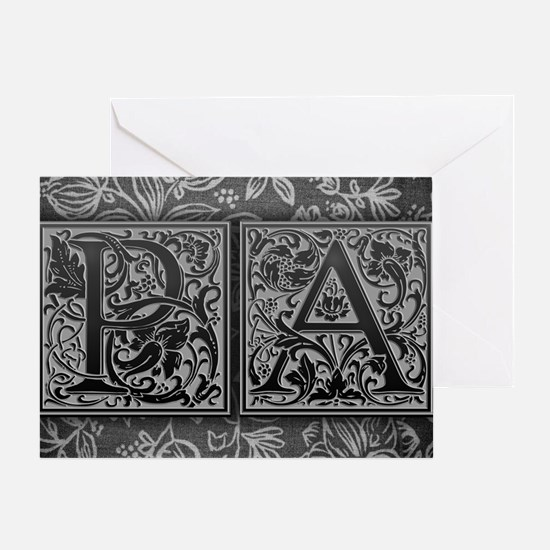 PA initials. Vintage, Floral Greeting Card