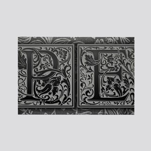 PE initials. Vintage, Floral Rectangle Magnet
