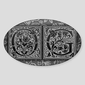 OG initials. Vintage, Floral Sticker (Oval)
