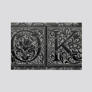 OK initials. Vintage, Floral Rectangle Magnet