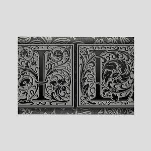 IL initials. Vintage, Floral Rectangle Magnet