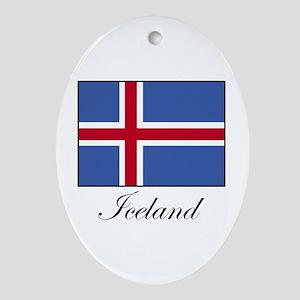 Iceland - Icelandic Flag Oval Ornament
